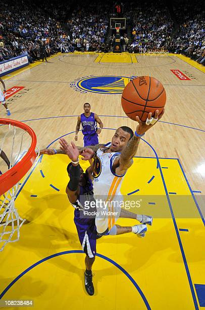 Monta Ellis of the Golden State Warriors lays the ball up against the Sacramento Kings on January 21 2011 at Oracle Arena in Oakland California NOTE...