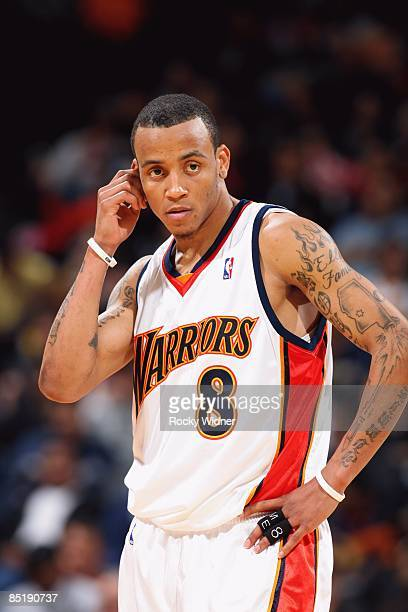 Monta Ellis of the Golden State Warriors looks on during the game against the Portland Trail Blazers at Oracle Arena on February 12 2009 in Oakland...