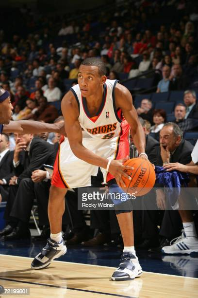 Monta Ellis of the Golden State Warriors looks to make a move during a preseason game against Efes Pilsen at the Arena in Oakland on October 12 2006...