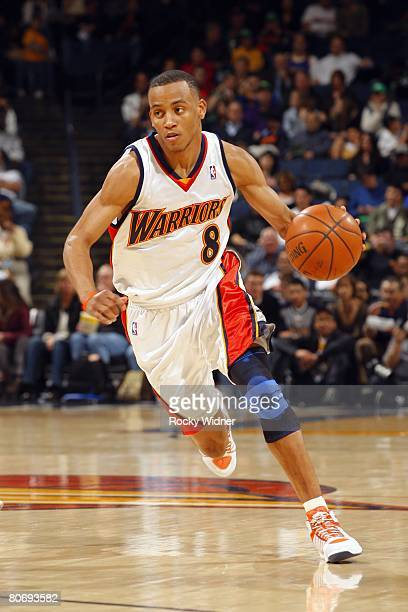 Monta Ellis of the Golden State Warriors moves the ball during the NBA game against the Memphis Grizzlies at the Oracle Arena on March 15 2008 in...