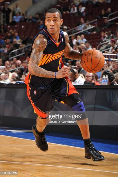 Monta Ellis of the Golden State Warriors moves the ball up court during the game against the Philadelphia 76ers at Wachovia Center on December 14...
