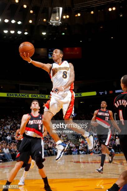Monta Ellis of the Golden State Warriors shoots the ball against the Portland Trail Blazers on February 12 2009 at Oracle Arena in Oakland California...