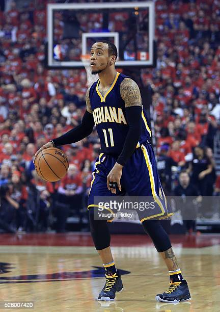 Monta Ellis of the Indiana Pacers dribbles the ball in the first half of Game Seven of the Eastern Conference Quarterfinals against the Toronto...