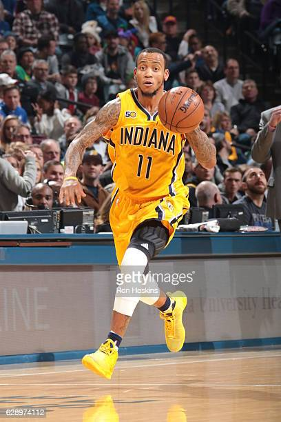 Monta Ellis of the Indiana Pacers handles the ball against the Portland Trail Blazers on December 10 2016 at Bankers Life Fieldhouse in Indianapolis...