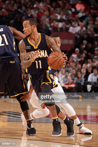 Monta Ellis of the Indiana Pacers handles the ball during a game against the Portland Trail Blazers on November 30 2016 at the Moda Center in...