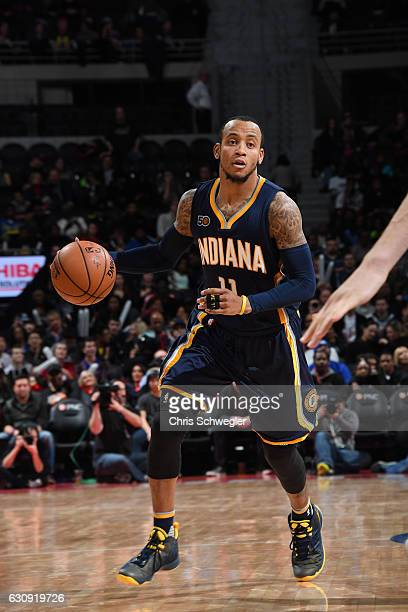Monta Ellis of the Indiana Pacers handles the ball during a game against the Detroit Pistons on January 3 2017 at The Palace of Auburn Hills in...