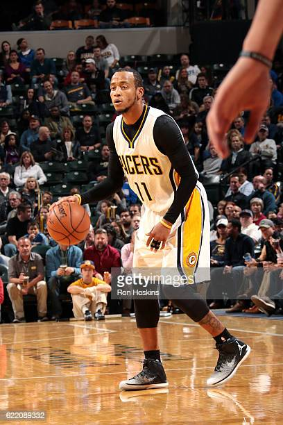 Monta Ellis of the Indiana Pacers handles the ball during the game against the Philadelphia 76ers on November 9 2016 at Bankers Life Fieldhouse in...