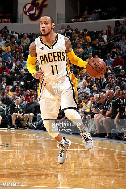 Monta Ellis of the Indiana Pacers handles the ball during the game against the Brooklyn Nets on January 5 2017 at Bankers Life Fieldhouse in...