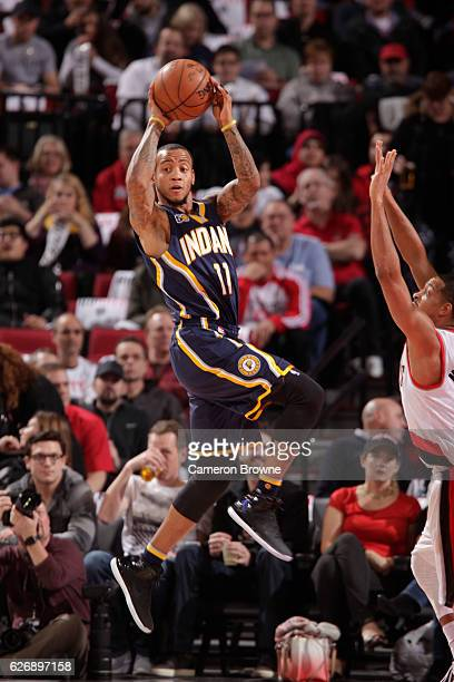 Monta Ellis of the Indiana Pacers looks to pass the ball during a game against the Portland Trail Blazers on November 30 2016 at the Moda Center in...