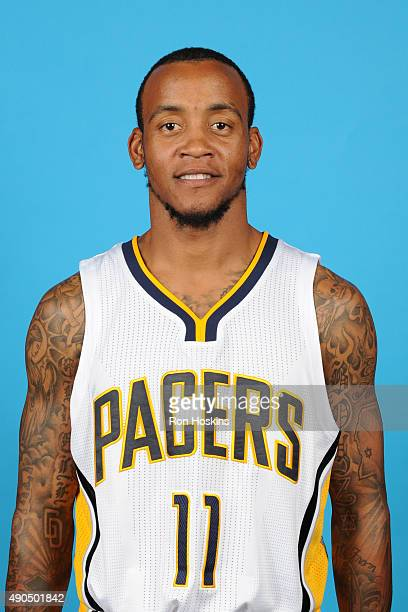 Monta Ellis of the Indiana Pacers poses for a head shot during the Indiana Pacers media day at Bankers Life Fieldhouse on September 28 2015 in...