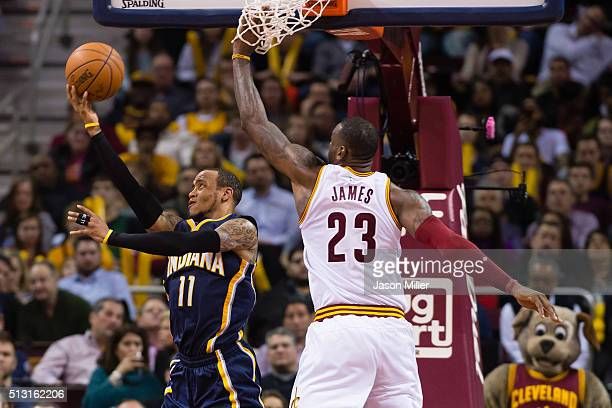 Monta Ellis of the Indiana Pacers shoots over LeBron James of the Cleveland Cavaliers during the second half at Quicken Loans Arena on February 29...