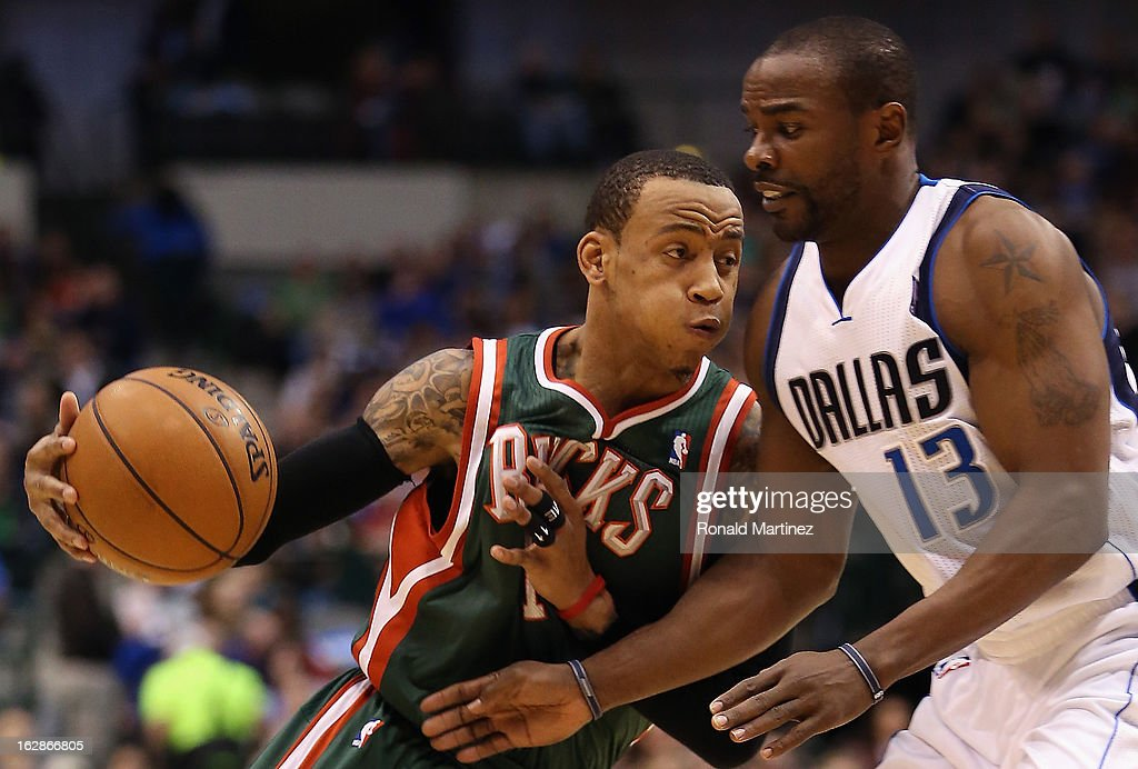 Monta Ellis #11 of the Milwaukee Bucks at American Airlines Center on February 26, 2013 in Dallas, Texas.