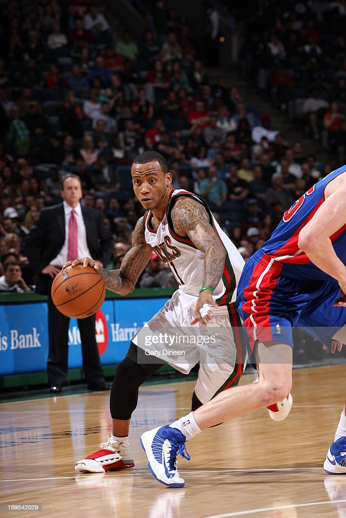 Monta Ellis #11 of the Milwaukee Bucks drives to the basket against the Detroit Pistons on January 11, 2013 at the BMO Harris Bradley Center in Milwaukee, Wisconsin.