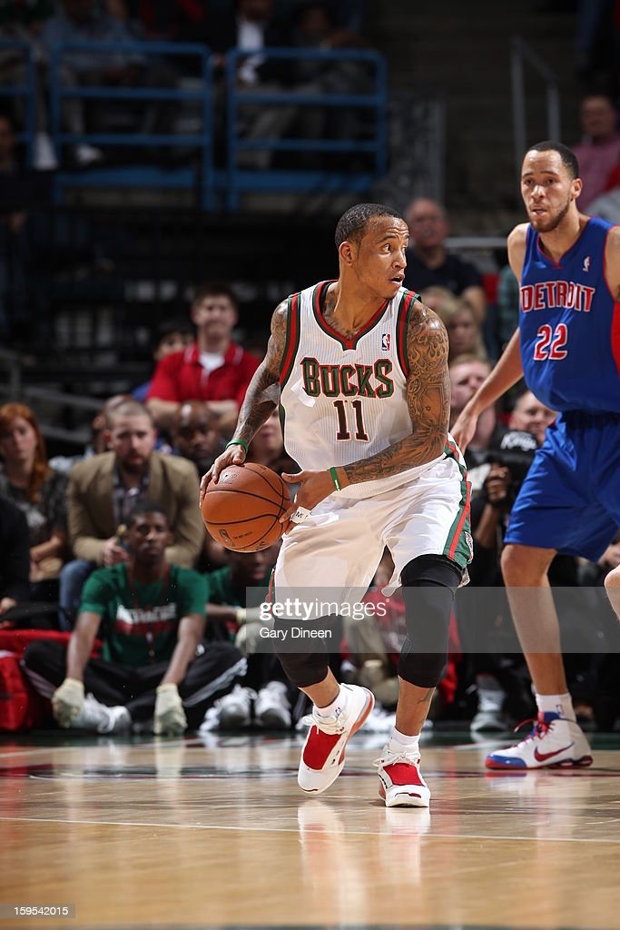 Monta Ellis #11 of the Milwaukee Bucks looks to pass the ball against the Detroit Pistons on January 11, 2013 at the BMO Harris Bradley Center in Milwaukee, Wisconsin.