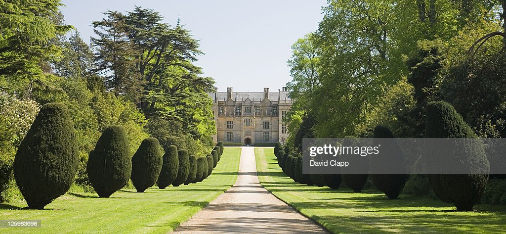 montacute house showing the elaborate driveway and trees somerset