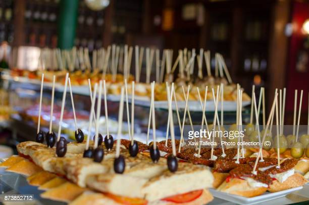 montaditos are ready - tapas stock photos and pictures