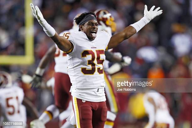 Montae Nicholson of the Washington Redskins reacts after a missed field goal by the Dallas Cowboys as time expired in the game at FedExField on...