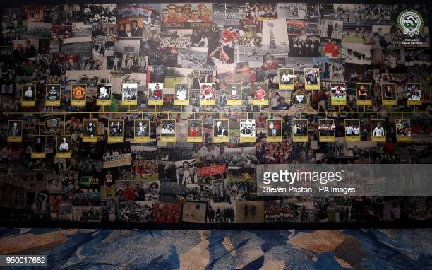 Montage display of pictures during the 2018 PFA Awards at the Grosvenor House Hotel London