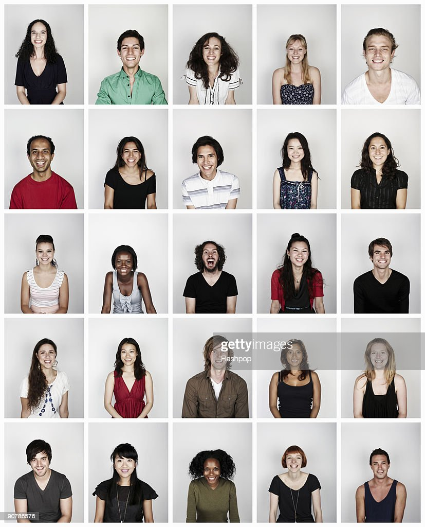Montage of a group of people smiling : Stock Photo