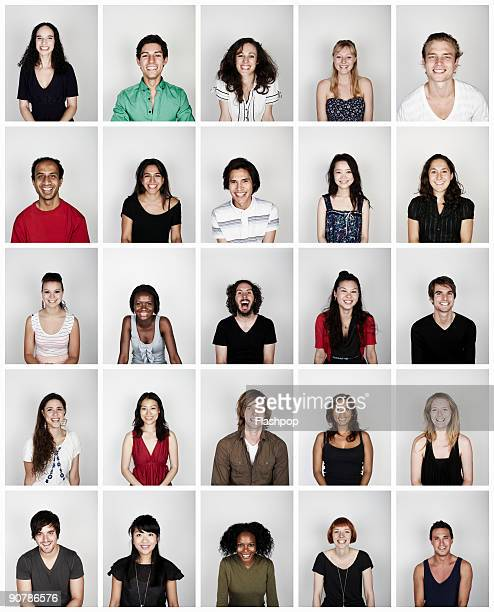montage of a group of people smiling - foto de cabeza fotografías e imágenes de stock