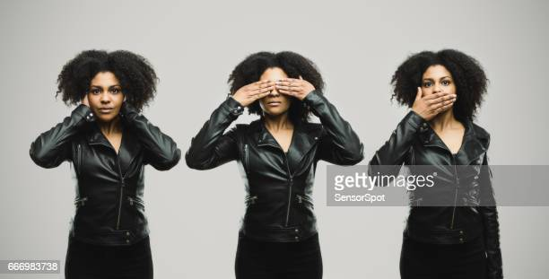 montage of a real woman covering her eye, ears and mouth - see no evil hear no evil speak no evil stock pictures, royalty-free photos & images