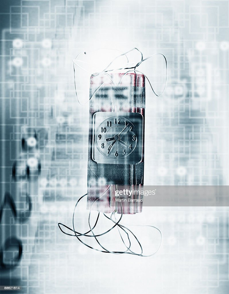 Montage of bomb, timer and microchip : Bildbanksbilder