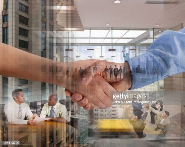 Montage of business people working and shaking hands