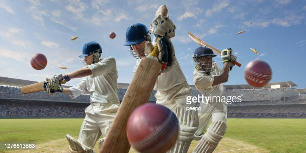 montage of cricket players hitting cricket balls in outdoor stadium - cricket player stock pictures, royalty-free photos & images
