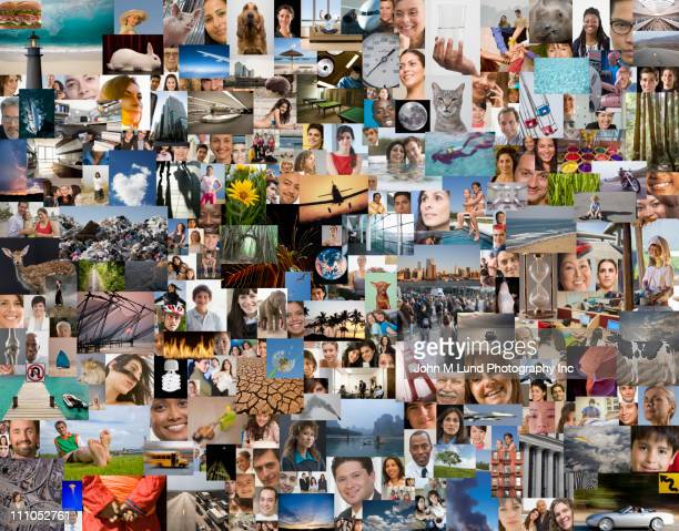 montage of diverse people, places and things - fotografía imágenes fotografías e imágenes de stock