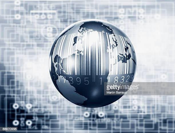 Montage of globe, microchip and bar code