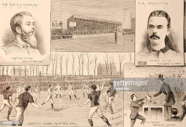 A montage of illustrations from the Football Association Challenge Cup match between Blackburn Olympic and the Old Etonians at the Kennington Oval in...