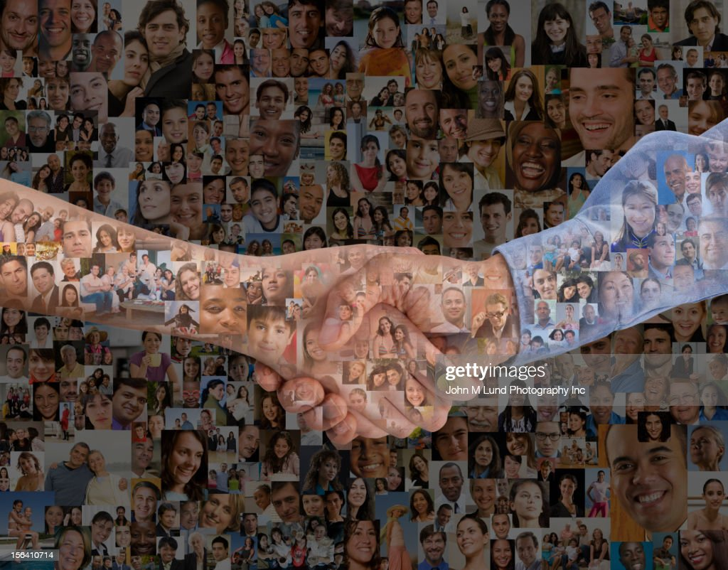 Montage of images of people and hand shaking : Stock Photo