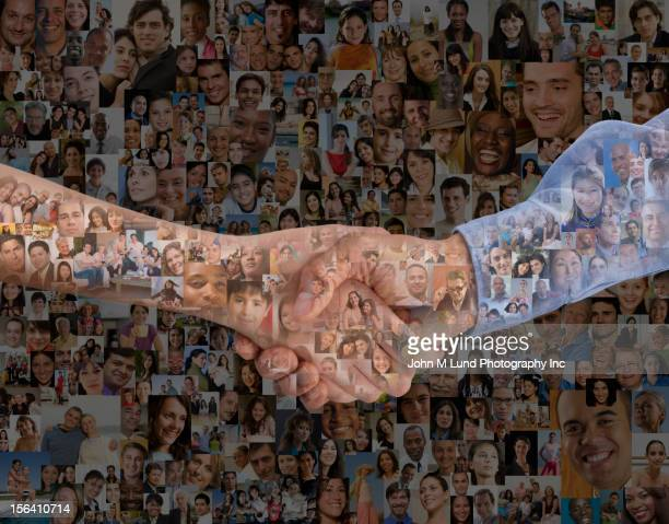 Montage of images of people and hand shaking