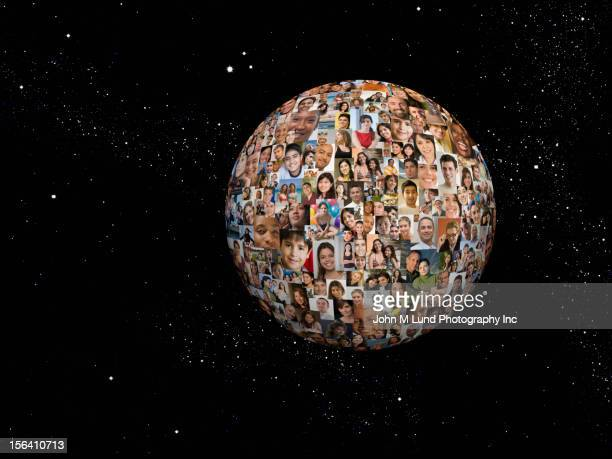 Montage of images of people in shape of sphere