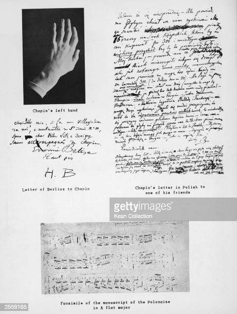 A montage of images relating to the Polish born composer and pianist Frederic Chopin his left hand part of the manuscript of the Polonaise in A flat...