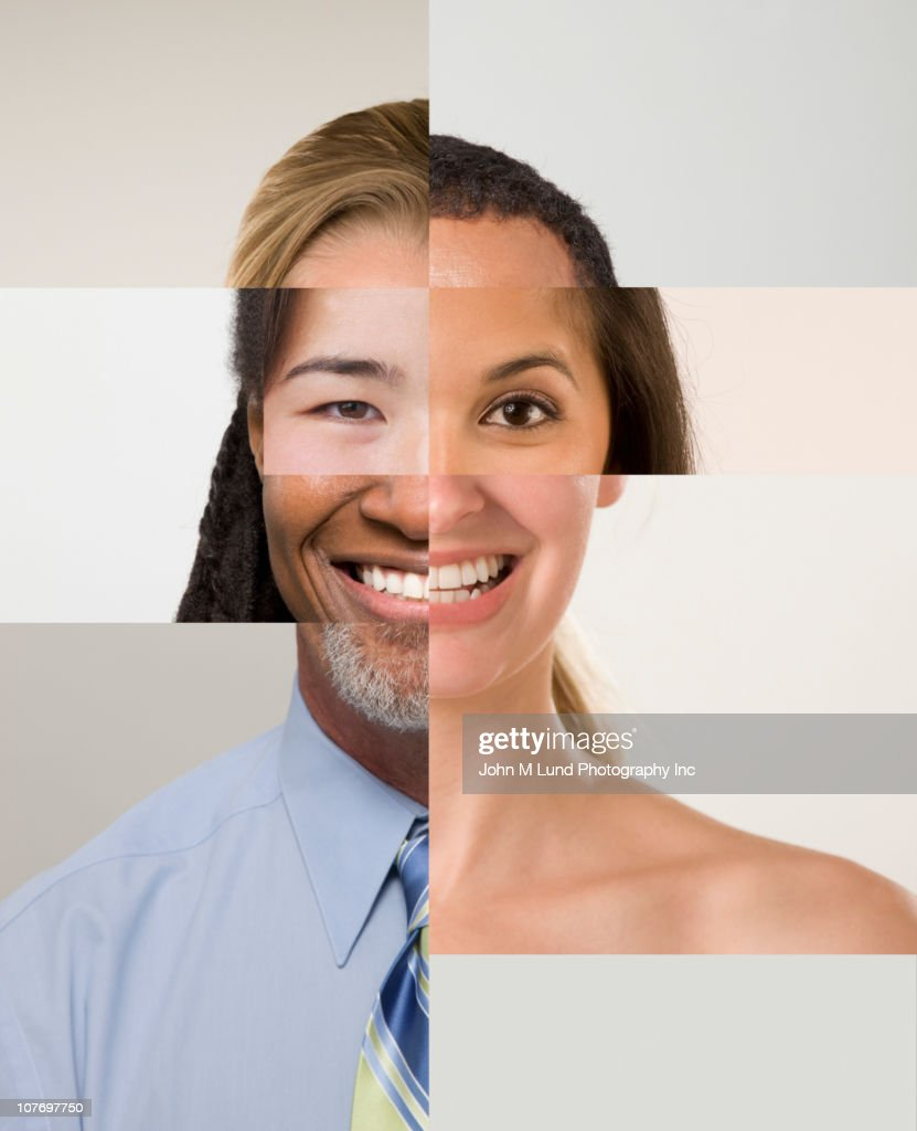 Montage of male and female faces : Stock Photo