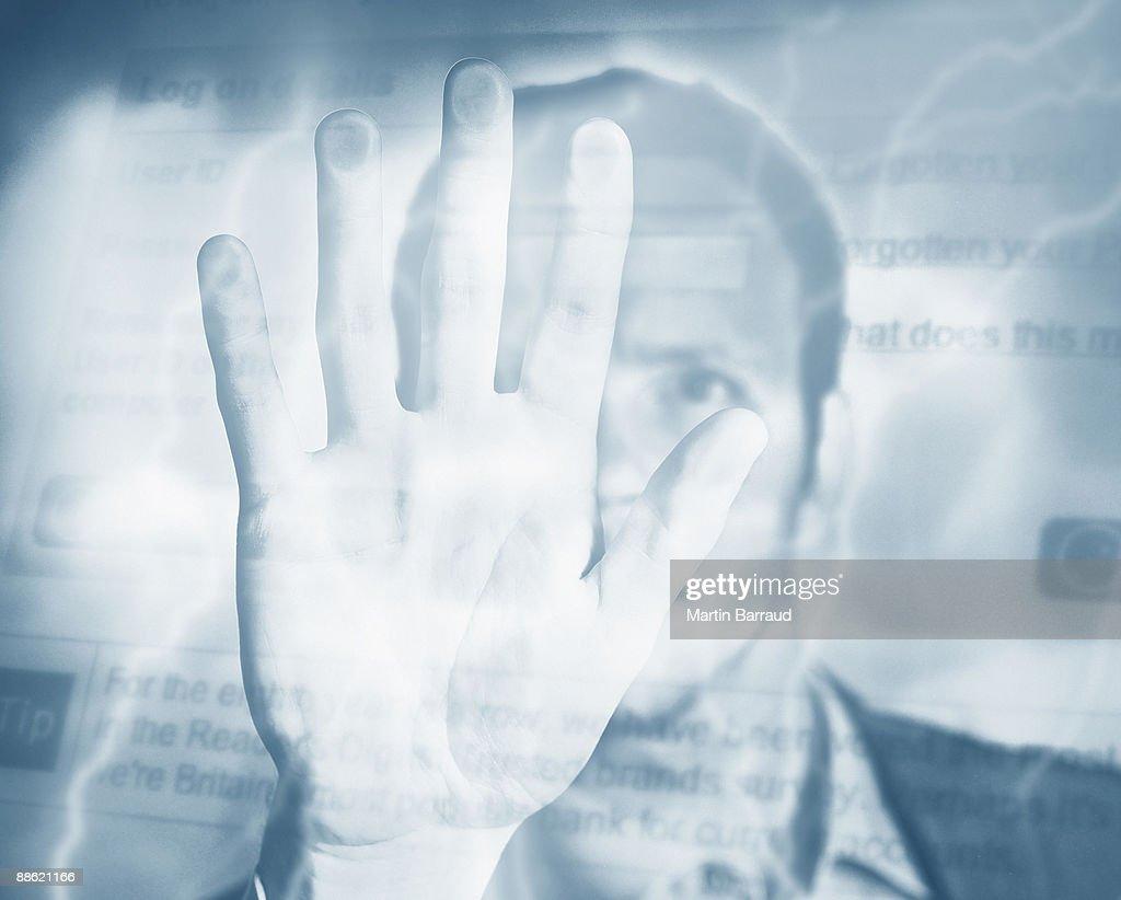 Montage of man, palm, electricity and computer screen : Bildbanksbilder