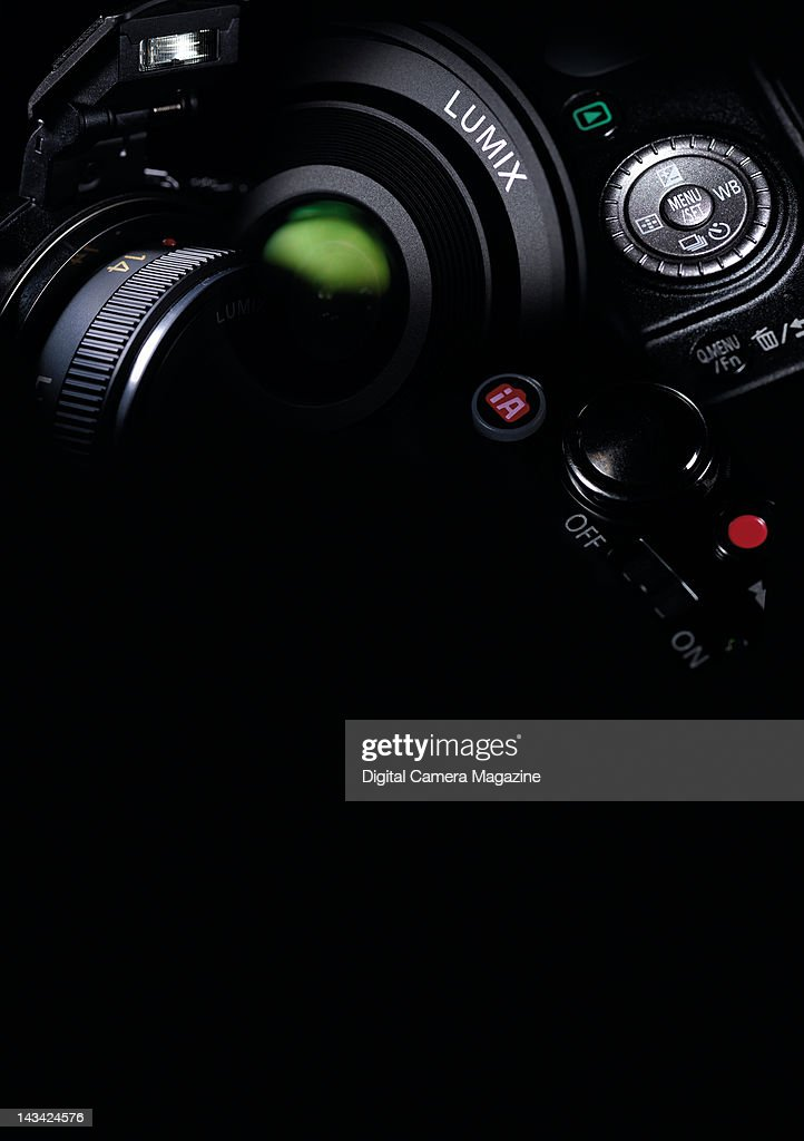 A montage of Panasonic Lumix cameras against a black background, taken on September 28, 2011.