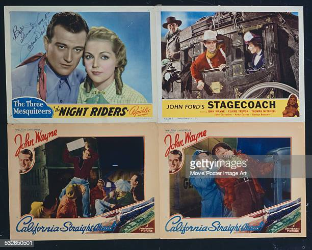 A montage of posters for films starring John Wayne including Arthur Lubin's 1937 action film 'California Straight Ahead' John Ford's 1939 western...