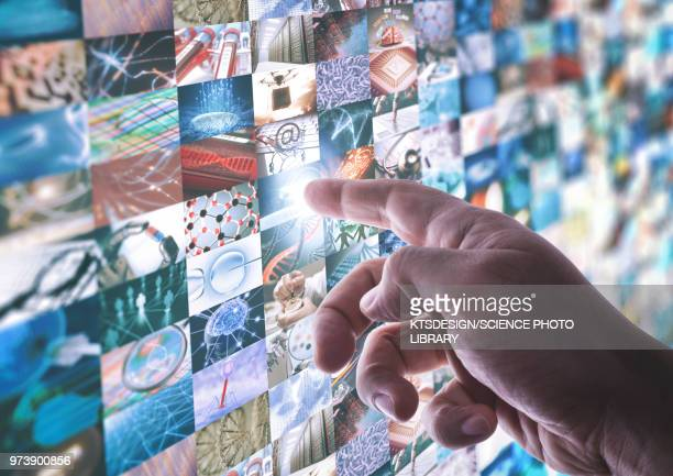 Montage of science and technology images with finger