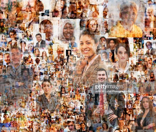 montage of smiling business people - クラウドソーシング ストックフォトと画像
