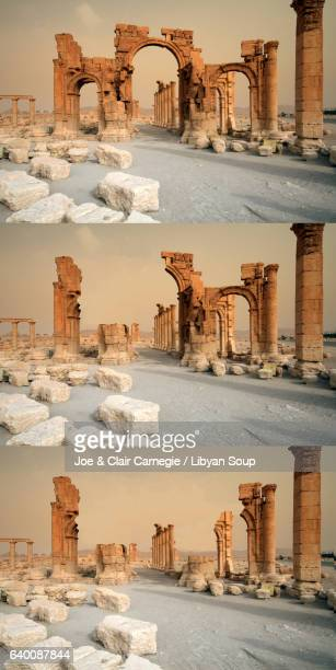 Montage of the sequential destruction of the Arch of Triumph in Palmyra, Syria.