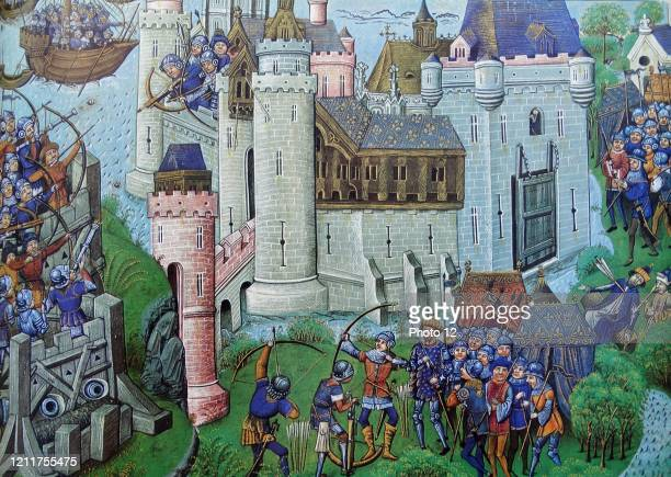 Montage of the siege on the French Castle, Gironde, near Bordeaux, held by the English. Owen of Wales, a soldier in the French service led the siege,...
