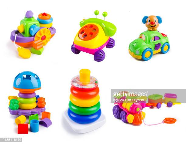 montage of various toys against white background - essentials collection stock pictures, royalty-free photos & images