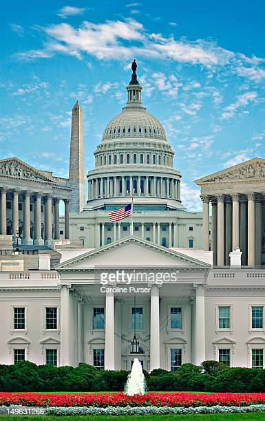 montage of washington dc landmarks - capitol hill stock pictures, royalty-free photos & images