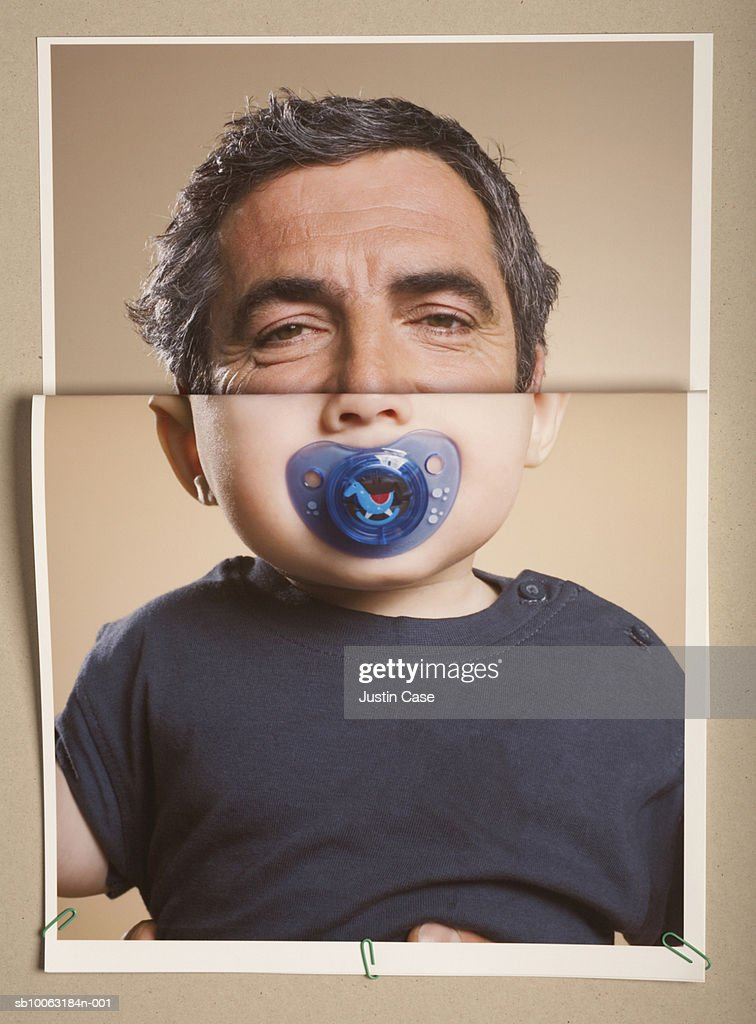 Montage picture of baby boy (5 months) with pacifier and portrait of mature man : Foto de stock