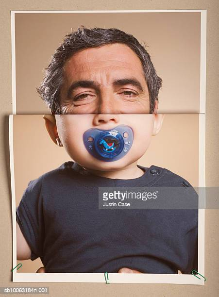 Montage picture of baby boy (5 months) with pacifier and portrait of mature man