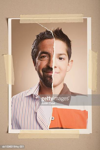 Montage picture of mature man and young boy (8-9 years)