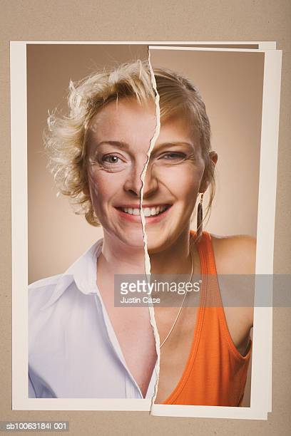 Montage picture of mid adult and young woman smiling