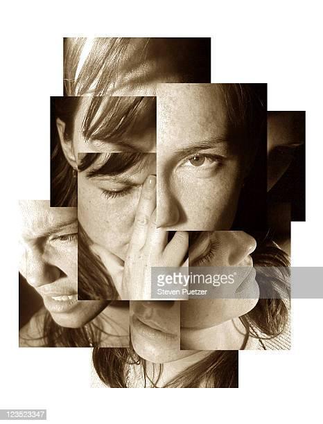 montage portrait of a woman - donna mezzo busto bianco e nero foto e immagini stock